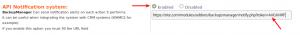 API Notification settings