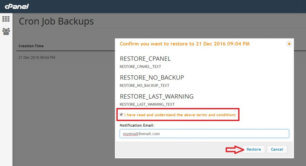 Restore a cron job from CPANEL