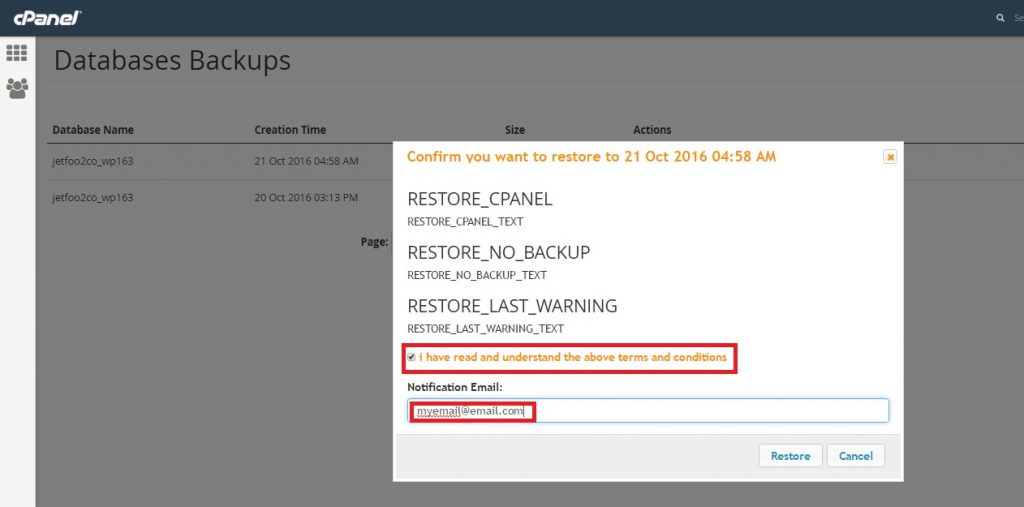 Restore a database from CPANEL