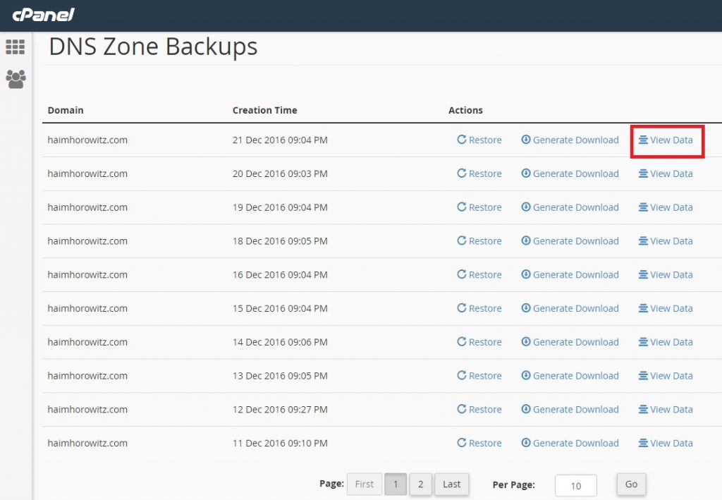 Restore DNS zone from CPANEL