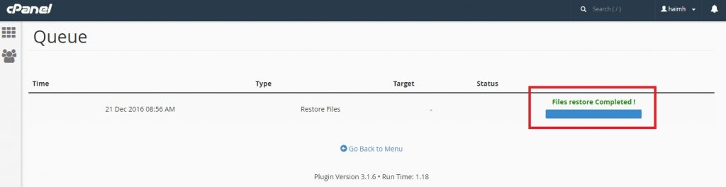 Restore my website with CPANEL snapshots