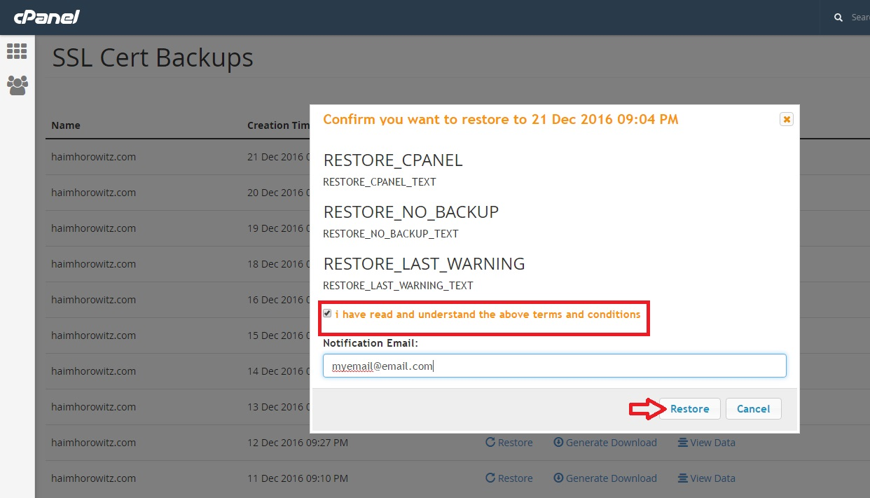 Jetapps Documentation Restore An Ssl Certificate From Cpanel