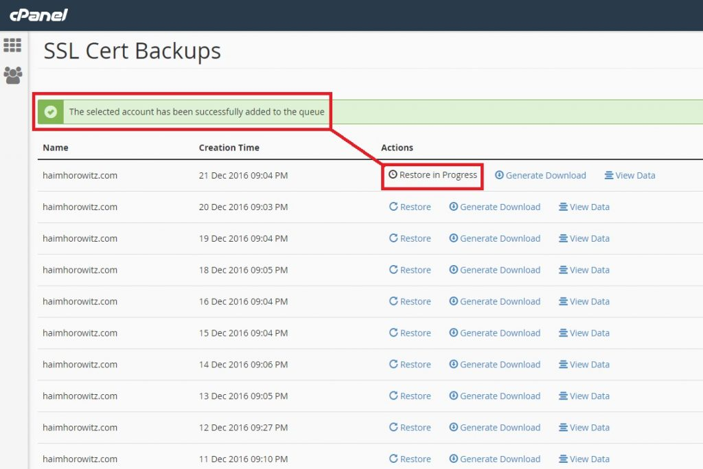 Restore an SSL certificate from CPANEL