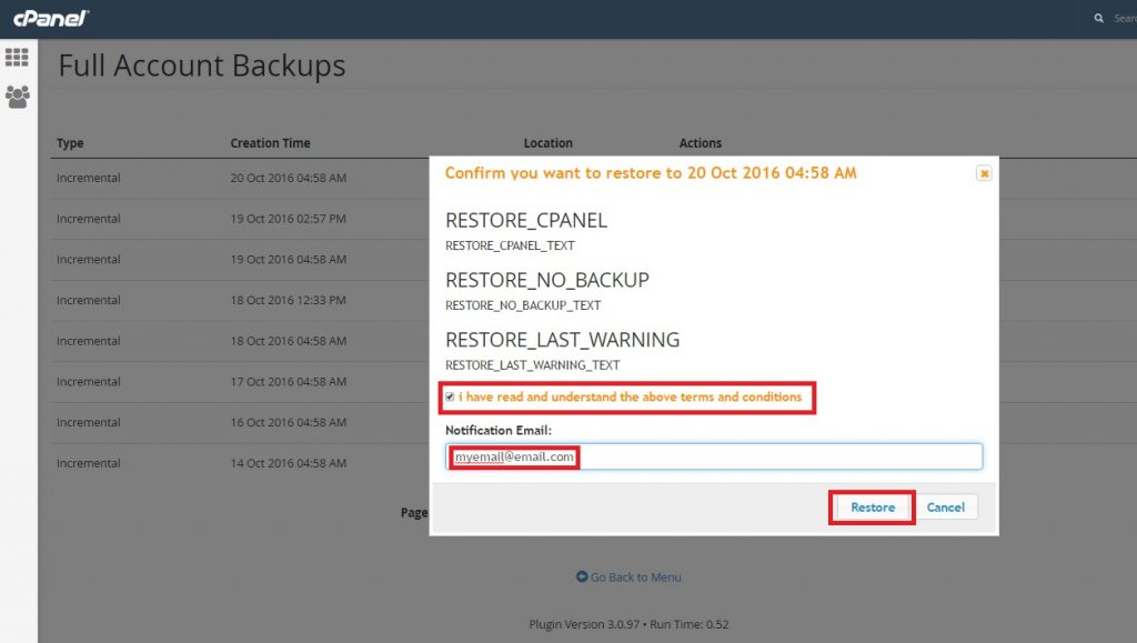Restore my account from CPANEL