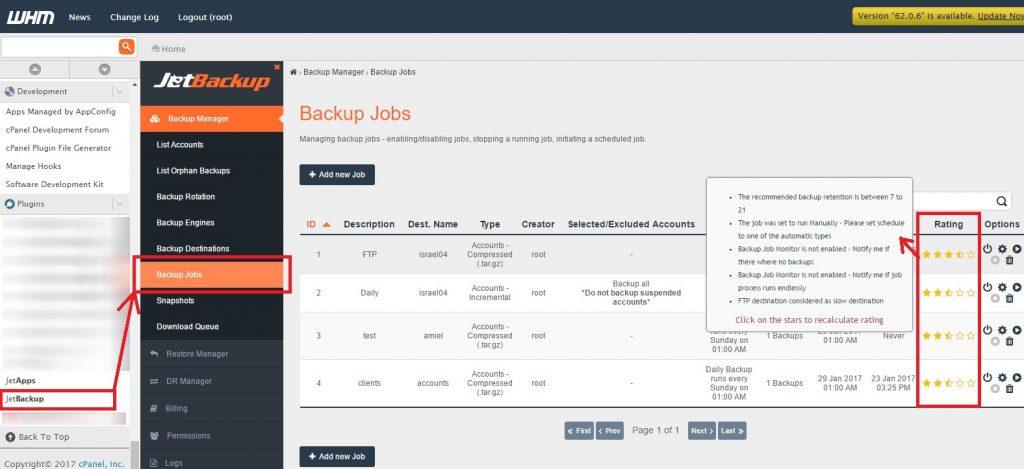 Backup Jobs Rating