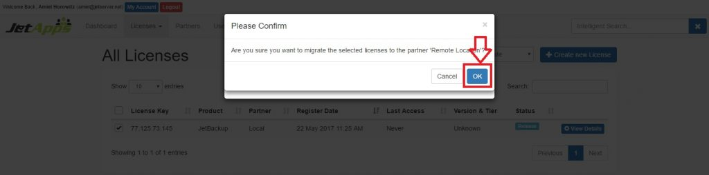 Migrate a License to a Partner