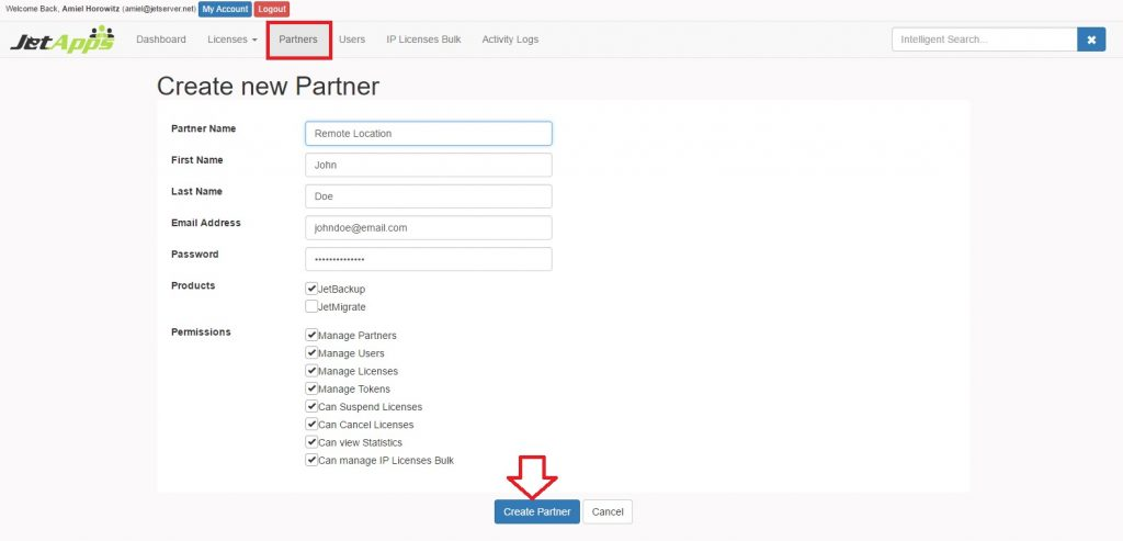 Create and Manage Partners