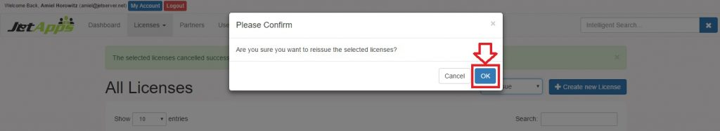 Reissue a License